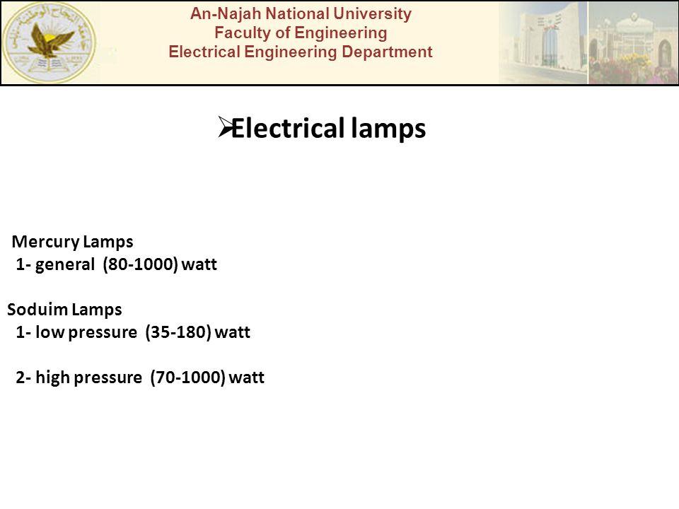 An-Najah National University Faculty of Engineering Electrical Engineering Department  Electrical lamps Mercury Lamps 1- general (80-1000) watt Soduim Lamps 1- low pressure (35-180) watt 2- high pressure (70-1000) watt