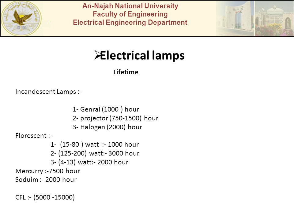 An-Najah National University Faculty of Engineering Electrical Engineering Department  Electrical lamps Lifetime Incandescent Lamps :- 1- Genral (1000 ) hour 2- projector (750-1500) hour 3- Halogen (2000) hour Florescent :- 1- (15-80 ) watt :- 1000 hour 2- (125-200) watt:- 3000 hour 3- (4-13) watt:- 2000 hour Mercurry :-7500 hour Soduim :- 2000 hour CFL :- (5000 -15000)