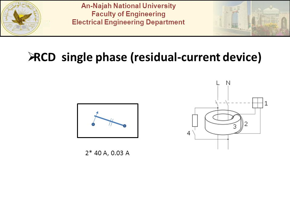 An-Najah National University Faculty of Engineering Electrical Engineering Department  RCD single phase (residual-current device) 2* 40 A, 0.03 A