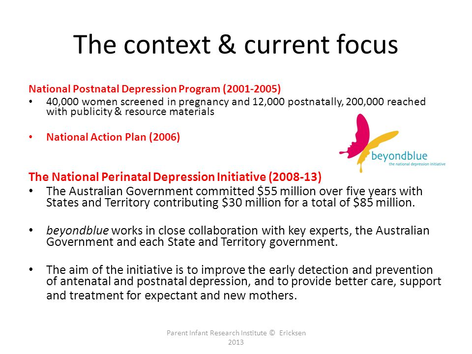 The context & current focus National Postnatal Depression Program (2001-2005) 40,000 women screened in pregnancy and 12,000 postnatally, 200,000 reached with publicity & resource materials National Action Plan (2006) The National Perinatal Depression Initiative (2008-13) The Australian Government committed $55 million over five years with States and Territory contributing $30 million for a total of $85 million.