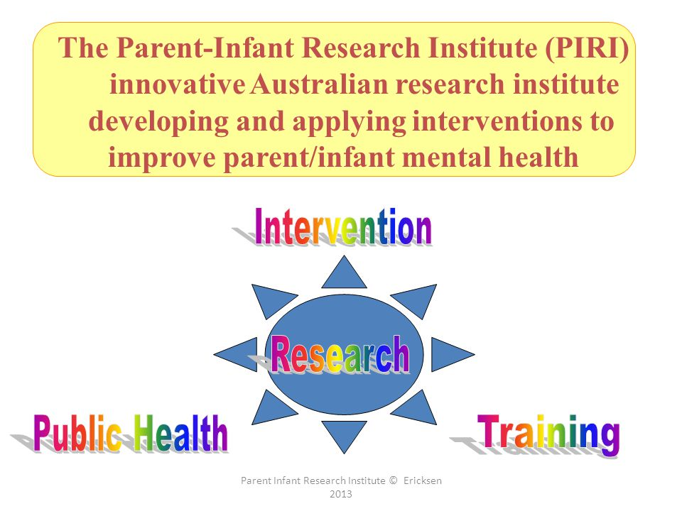 Parent Infant Research Institute © Ericksen 2013 The Parent-Infant Research Institute (PIRI) innovative Australian research institute developing and applying interventions to improve parent/infant mental health