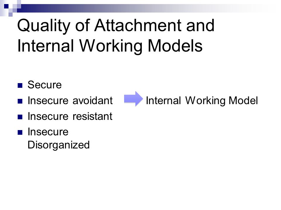 Quality of Attachment and Internal Working Models Secure Insecure avoidant Insecure resistant Insecure Disorganized Internal Working Model