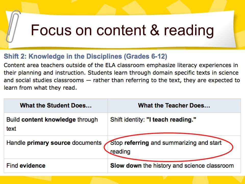 Focus on content & reading