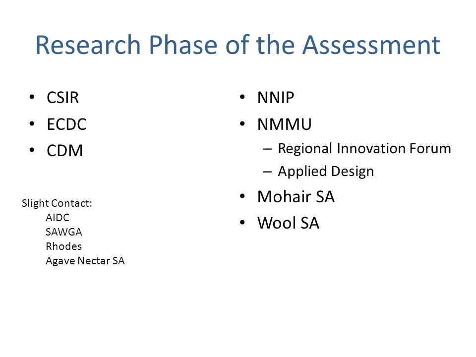 Research Phase of the Assessment CSIR ECDC CDM NNIP NMMU – Regional Innovation Forum – Applied Design Mohair SA Wool SA Slight Contact: AIDC SAWGA Rhodes Agave Nectar SA