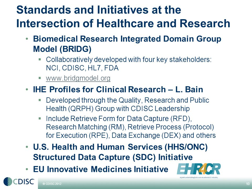 © CDISC 2012 Standards and Initiatives at the Intersection of Healthcare and Research Biomedical Research Integrated Domain Group Model (BRIDG)  Collaboratively developed with four key stakeholders: NCI, CDISC, HL7, FDA  www.bridgmodel.org www.bridgmodel.org IHE Profiles for Clinical Research – L.
