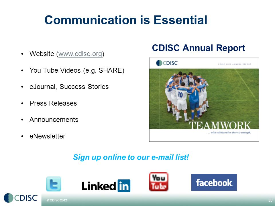 © CDISC 2012 Communication is Essential 35 Website (www.cdisc.org)www.cdisc.org You Tube Videos (e.g.