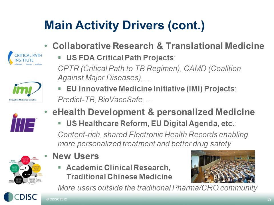 © CDISC 2012 Main Activity Drivers (cont.) Collaborative Research & Translational Medicine  US FDA Critical Path Projects: CPTR (Critical Path to TB Regimen), CAMD (Coalition Against Major Diseases), …  EU Innovative Medicine Initiative (IMI) Projects: Predict-TB, BioVaccSafe, … eHealth Development & personalized Medicine  US Healthcare Reform, EU Digital Agenda, etc.: Content-rich, shared Electronic Health Records enabling more personalized treatment and better drug safety New Users  Academic Clinical Research, Traditional Chinese Medicine More users outside the traditional Pharma/CRO community 39