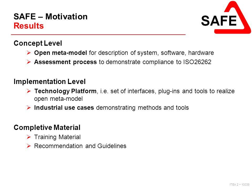 ITEA 2 ~ 10039 SAFE – Motivation Results Concept Level  Open meta-model for description of system, software, hardware  Assessment process to demonst