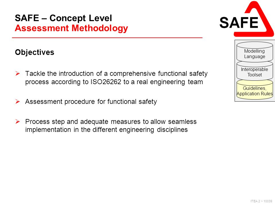 ITEA 2 ~ 10039 SAFE – Concept Level Assessment Methodology Objectives  Tackle the introduction of a comprehensive functional safety process according