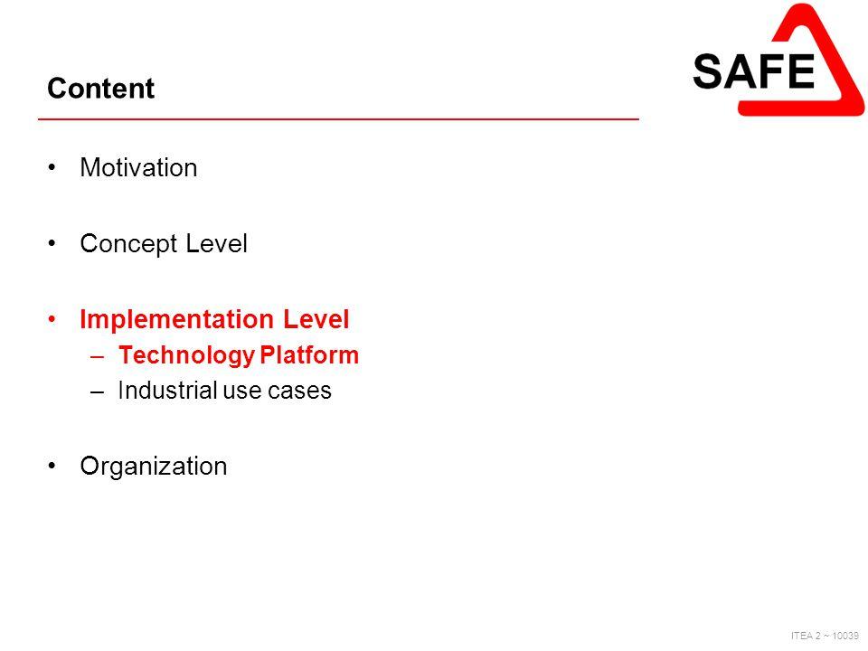 ITEA 2 ~ 10039 Content Motivation Concept Level Implementation Level –Technology Platform –Industrial use cases Organization