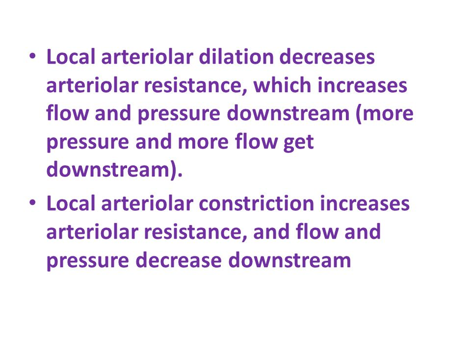 Local arteriolar dilation decreases arteriolar resistance, which increases flow and pressure downstream (more pressure and more flow get downstream).