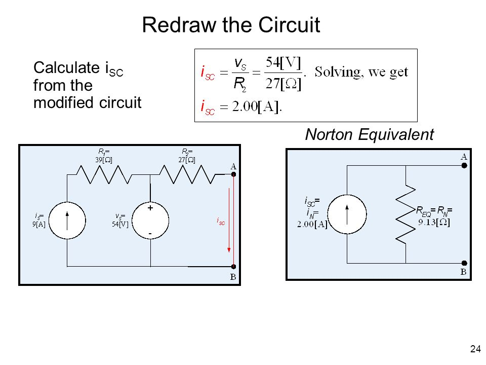 24 Redraw the Circuit Calculate i SC from the modified circuit Norton Equivalent