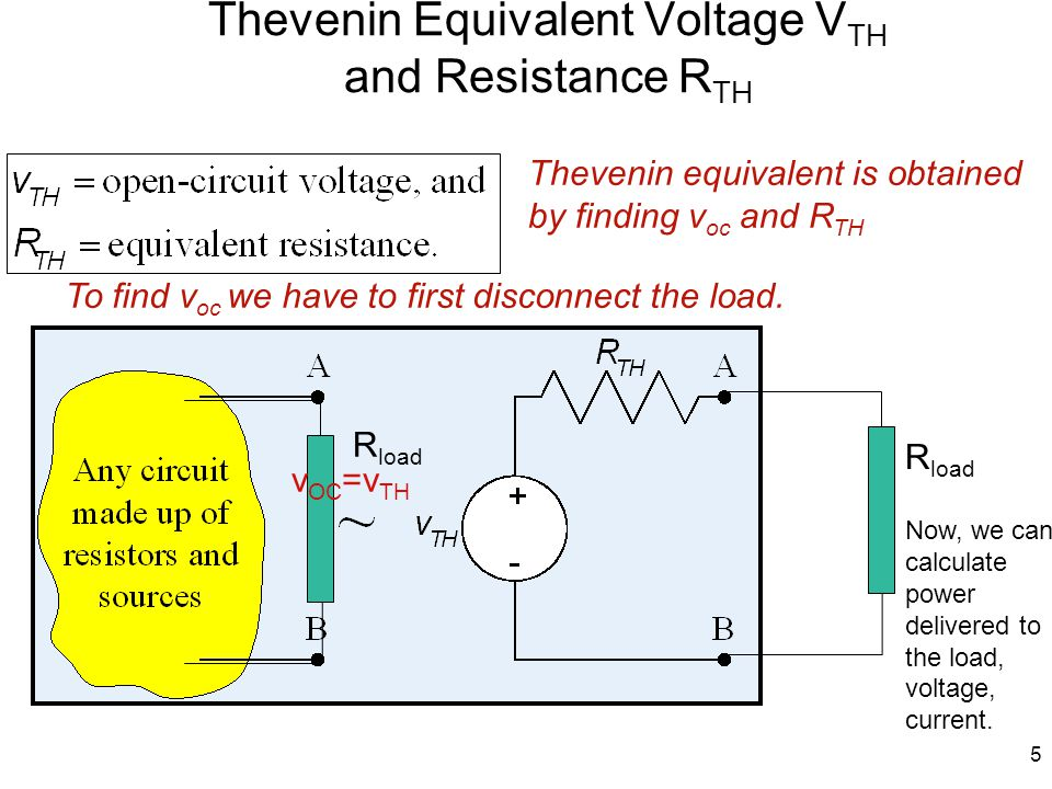 6 Polarity of the voltage source The polarities the Thevenin voltage source must be the same as open circuit voltage v OC.