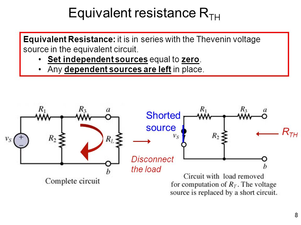 8 Equivalent resistance R TH Equivalent Resistance: it is in series with the Thevenin voltage source in the equivalent circuit.