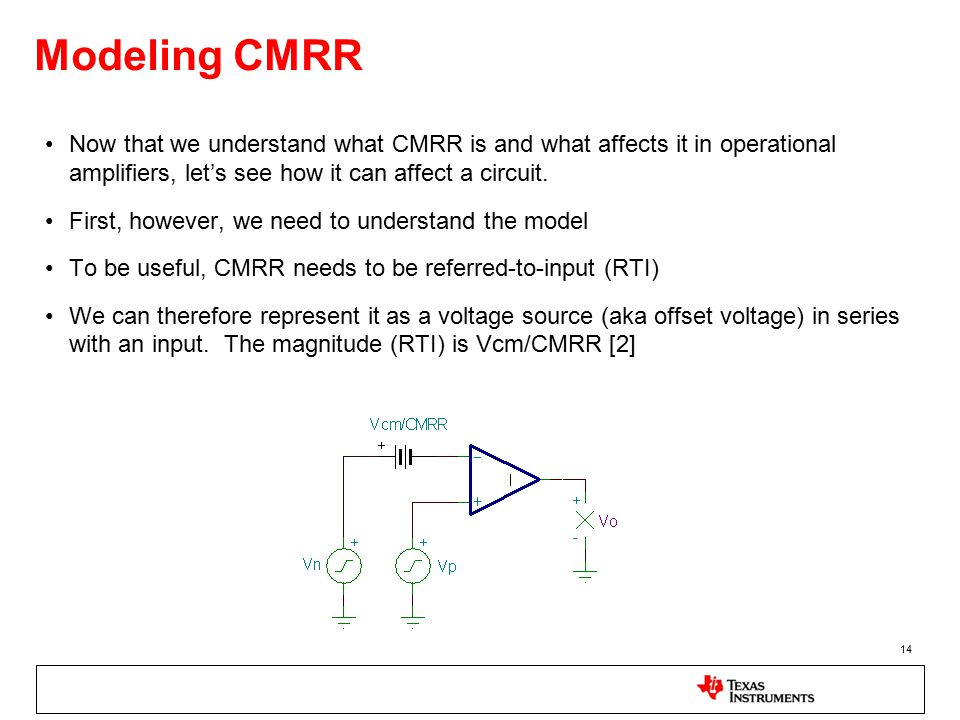 14 Modeling CMRR Now that we understand what CMRR is and what affects it in operational amplifiers, let's see how it can affect a circuit.