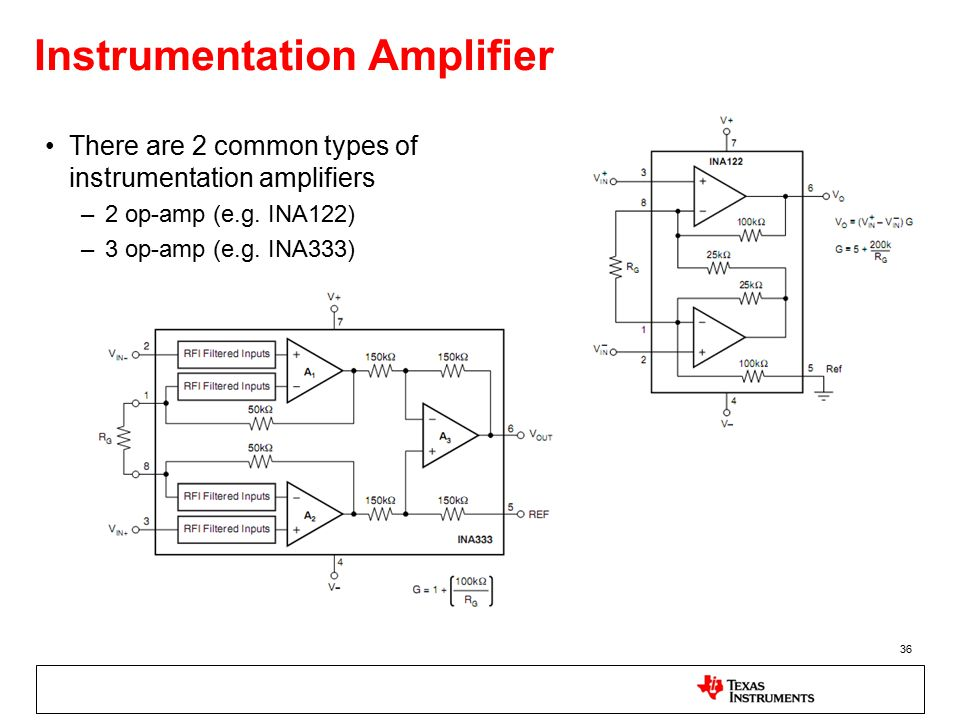 36 Instrumentation Amplifier There are 2 common types of instrumentation amplifiers –2 op-amp (e.g.