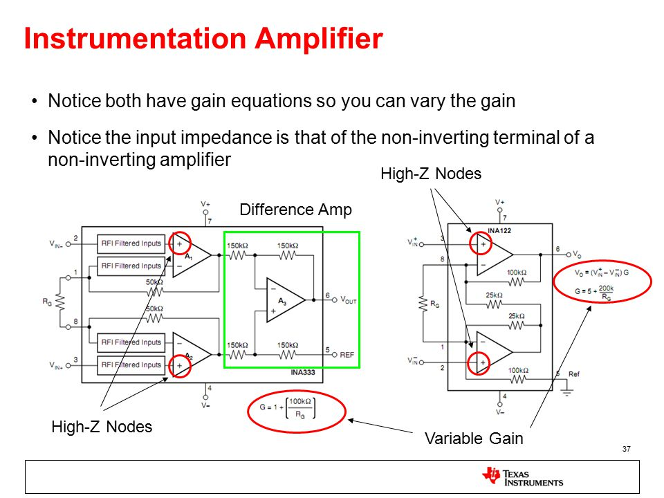 37 Instrumentation Amplifier Notice both have gain equations so you can vary the gain Notice the input impedance is that of the non-inverting terminal of a non-inverting amplifier Difference Amp High-Z Nodes Variable Gain