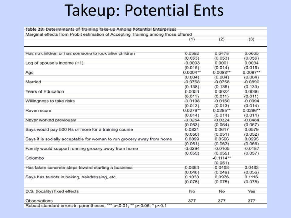 Takeup: Potential Ents