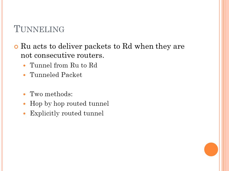 T UNNELING Ru acts to deliver packets to Rd when they are not consecutive routers.