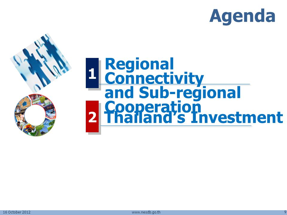16 October 2012 9 www.nesdb.go.th Agenda 1 1 Regional Connectivity and Sub-regional Cooperation 2 2 Thailand's Investment Plans