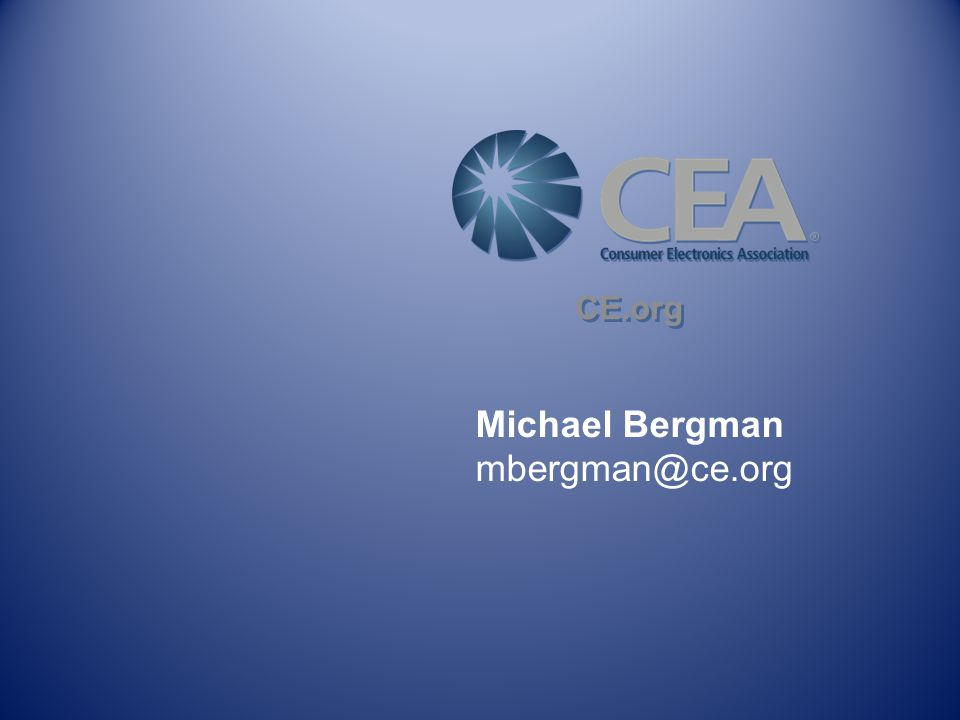 Michael Bergman mbergman@ce.org CE.org