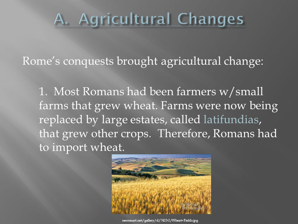 Rome's conquests brought agricultural change: 1.