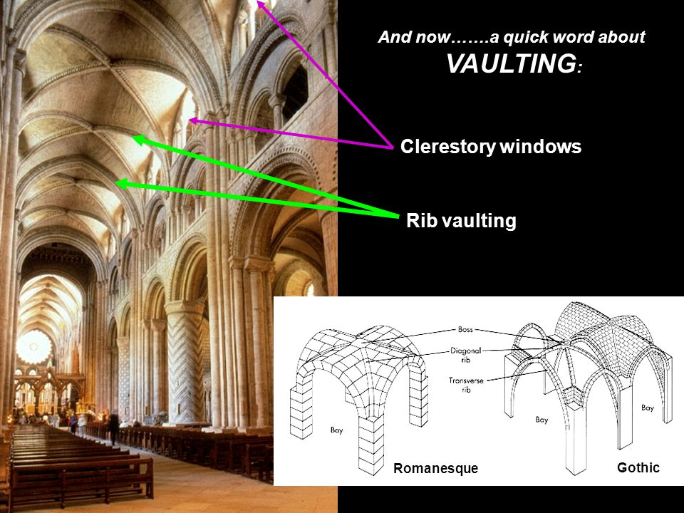 And now…….a quick word about VAULTING : Romanesque Gothic Clerestory windows Rib vaulting