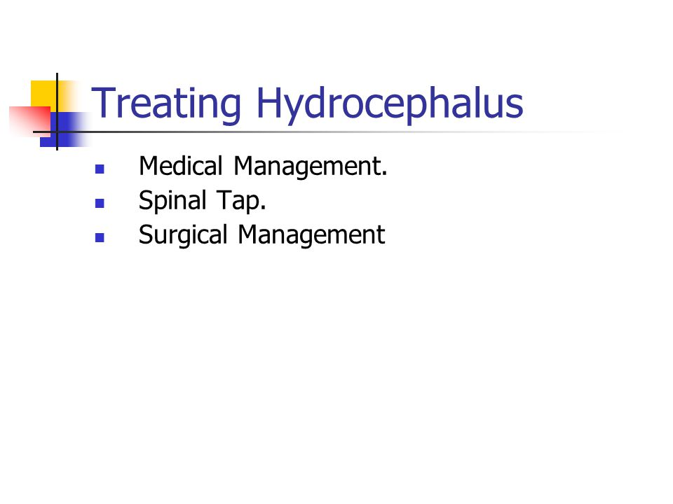 Treating Hydrocephalus Medical Management. Spinal Tap. Surgical Management