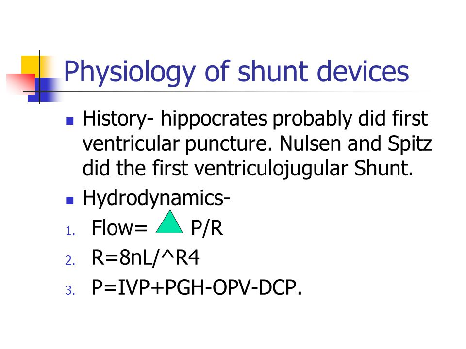 Physiology of shunt devices History- hippocrates probably did first ventricular puncture.