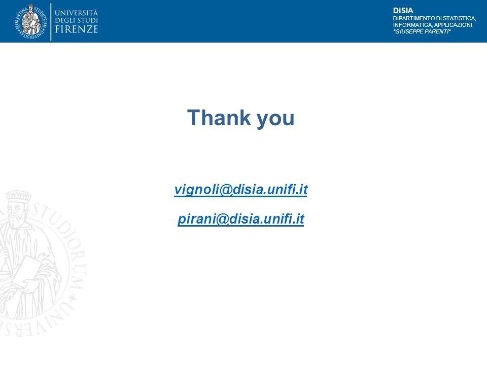DiSIA DIPARTIMENTO DI STATISTICA, INFORMATICA, APPLICAZIONI GIUSEPPE PARENTI Thank you vignoli@disia.unifi.it pirani@disia.unifi.it vignoli@disia.unifi.it pirani@disia.unifi.it