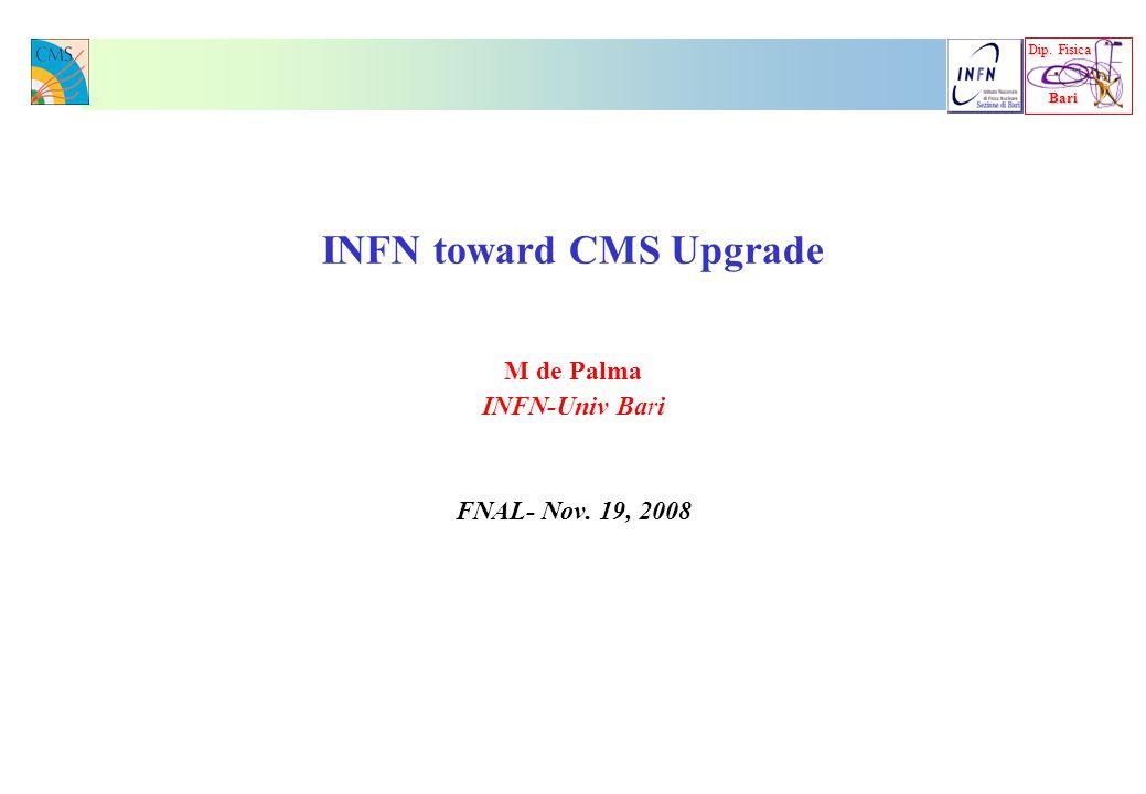 Dip. Fisica Bari Bari INFN toward CMS Upgrade M de Palma INFN-Univ Bari FNAL- Nov. 19, 2008