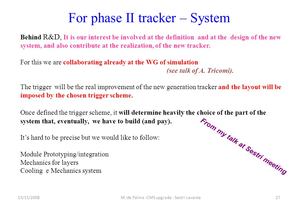 For phase II tracker – System 13/11/200827M.