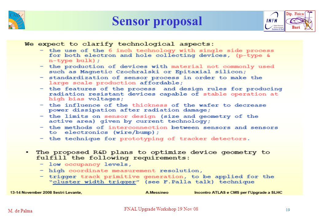 Dip. Fisica Bari Bari M. de Palma FNAL Upgrade Workshop 19 Nov 08 19 Sensor proposal