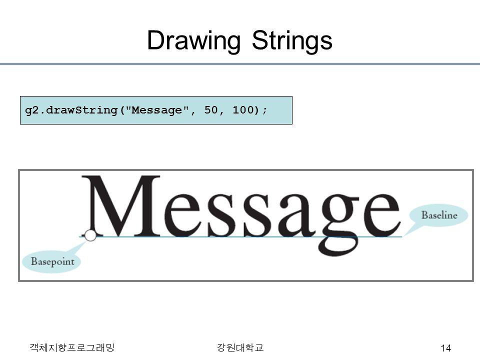 객체지향프로그래밍강원대학교 Drawing Strings g2.drawString( Message , 50, 100); 14