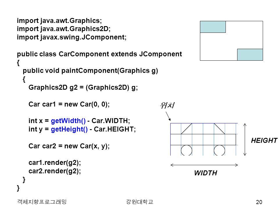 객체지향프로그래밍강원대학교 import java.awt.Graphics; import java.awt.Graphics2D; import javax.swing.JComponent; public class CarComponent extends JComponent { pub