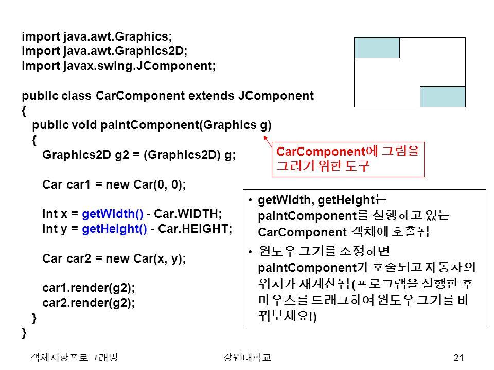 객체지향프로그래밍강원대학교 import java.awt.Graphics; import java.awt.Graphics2D; import javax.swing.JComponent; public class CarComponent extends JComponent { public void paintComponent(Graphics g) { Graphics2D g2 = (Graphics2D) g; Car car1 = new Car(0, 0); int x = getWidth() - Car.WIDTH; int y = getHeight() - Car.HEIGHT; Car car2 = new Car(x, y); car1.render(g2); car2.render(g2); } getWidth, getHeight 는 paintComponent 를 실행하고 있는 CarComponent 객체에 호출됨 윈도우 크기를 조정하면 paintComponent 가 호출되고 자동차의 위치가 재계산됨 ( 프로그램을 실행한 후 마우스를 드래그하여 윈도우 크기를 바 꿔보세요 !) CarComponent 에 그림을 그리기 위한 도구 21