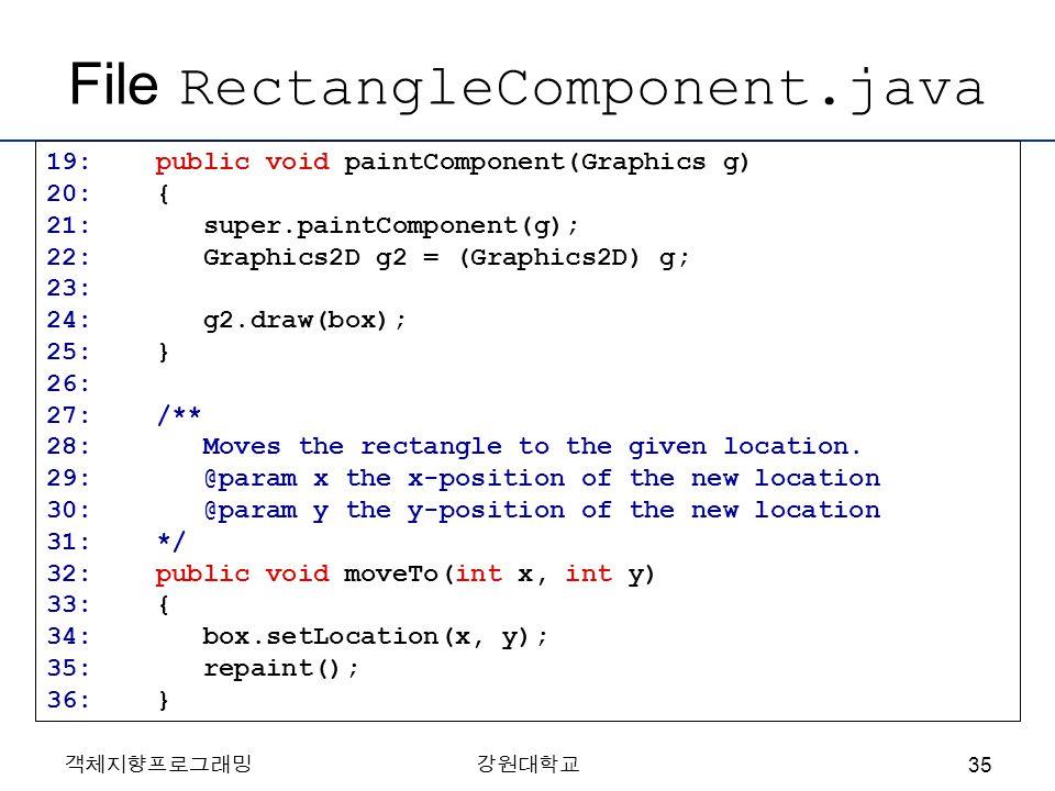 객체지향프로그래밍강원대학교 File RectangleComponent.java 19: public void paintComponent(Graphics g) 20: { 21: super.paintComponent(g); 22: Graphics2D g2 = (Graphic