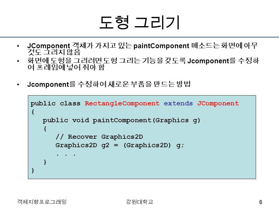 객체지향프로그래밍강원대학교 도형 그리기 JComponent 객체가 가지고 있는 paintComponent 메소드는 화면에 아무 것도 그리지 않음 화면에 도형을 그리려면 도형 그리는 기능을 갖도록 Jcomponent 를 수정하 여 프레임에 넣어 줘야 함 Jcomponent 를 수정하여 새로운 부품을 만드는 방법 public class RectangleComponent extends JComponent { public void paintComponent(Graphics g) { // Recover Graphics2D Graphics2D g2 = (Graphics2D) g;...