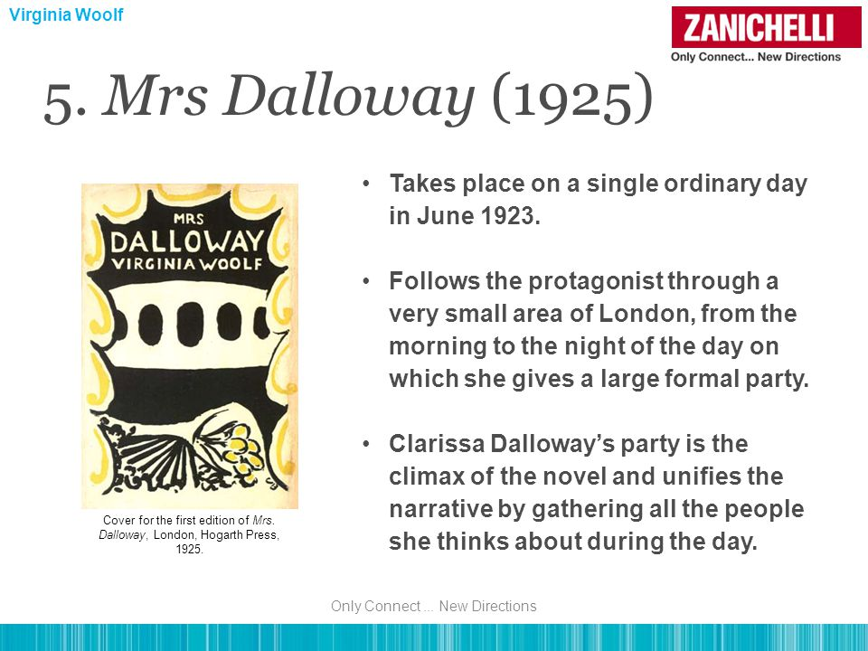5. Mrs Dalloway (1925) Takes place on a single ordinary day in June 1923.