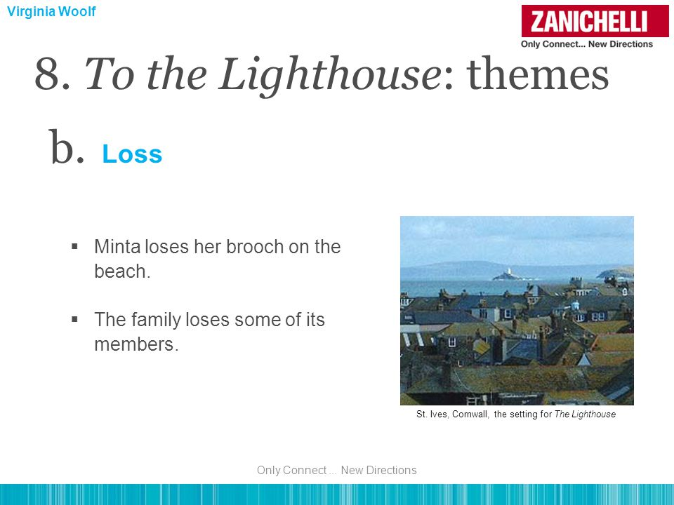 b. Loss  Minta loses her brooch on the beach.  The family loses some of its members.