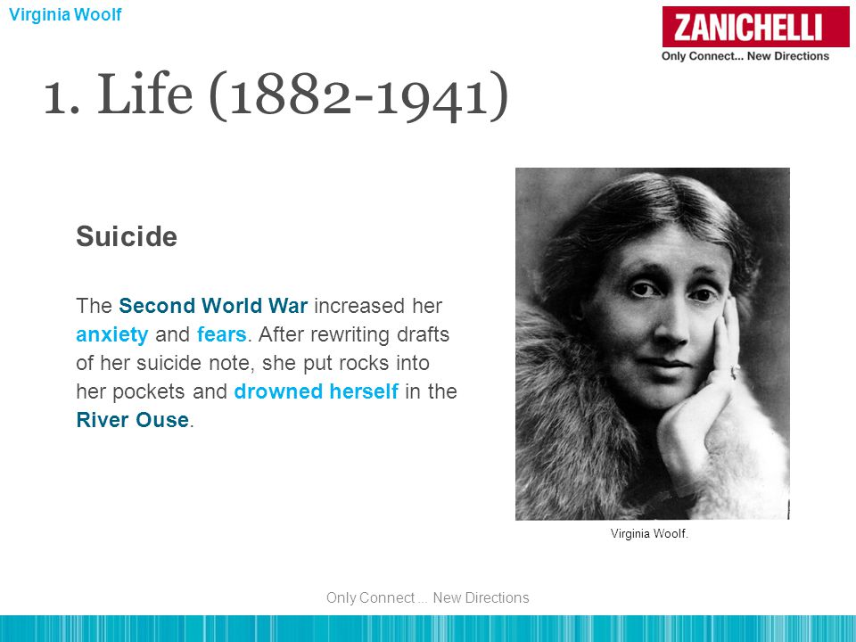 1. Life (1882-1941) The Second World War increased her anxiety and fears.