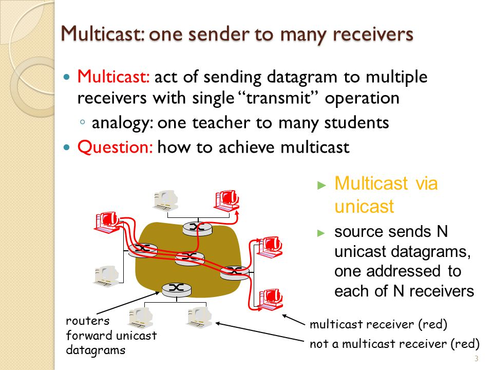 Multicast: one sender to many receivers Multicast: act of sending datagram to multiple receivers with single transmit operation ◦ analogy: one teacher to many students Question: how to achieve multicast 4 ► Network multicast ► Router actively participate in multicast, making copies of packets as needed and forwarding towards multicast receivers Multicast routers (red) duplicate and forward multicast datagrams