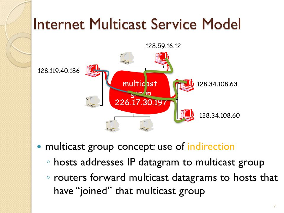 Internet Multicast Service Model multicast group concept: use of indirection ◦ hosts addresses IP datagram to multicast group ◦ routers forward multicast datagrams to hosts that have joined that multicast group 7 128.119.40.186 128.59.16.12 128.34.108.63 128.34.108.60 multicast group 226.17.30.197