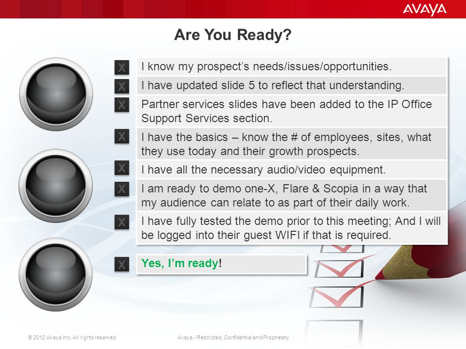 © 2012 Avaya Inc. All rights reserved. 1 Avaya - Restricted, Confidential and Proprietary Read this first STOP STEP 1: Enable Macros (see slide notes)