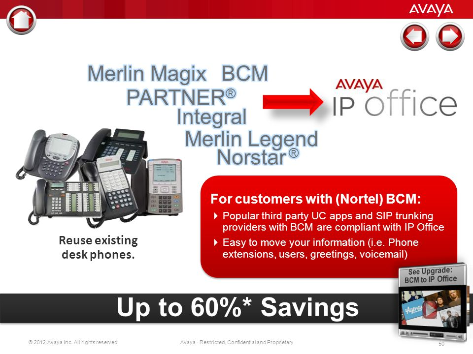© 2012 Avaya Inc. All rights reserved. 49 Avaya - Restricted, Confidential and Proprietary Reuse existing desk phones. Reuse existing cabling infrastr