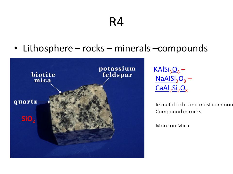 R4 Lithosphere – rocks – minerals –compounds SiO 2 KAlSi KAlSi 3 O 8 – NaAlSi 3 O 8 – CaAl 2 Si 2 O 8 ONaAlSi OCaAl Si O Ie metal rich sand most common Compound in rocks More on Mica