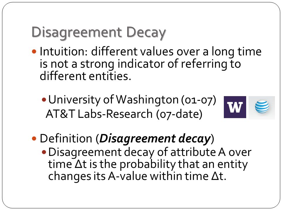 Disagreement Decay Intuition: different values over a long time is not a strong indicator of referring to different entities.