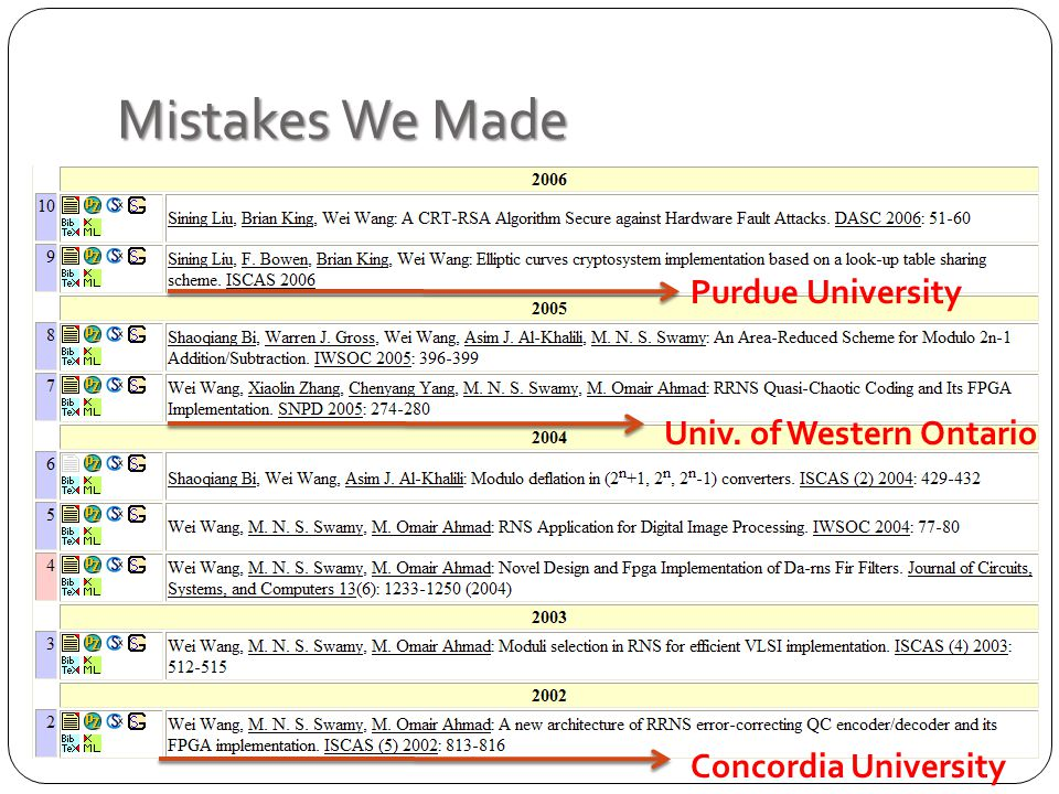 Mistakes We Made Purdue University Concordia University Univ. of Western Ontario