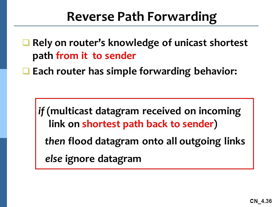 CN_4.36 Reverse Path Forwarding if (multicast datagram received on incoming link on shortest path back to sender) then flood datagram onto all outgoin