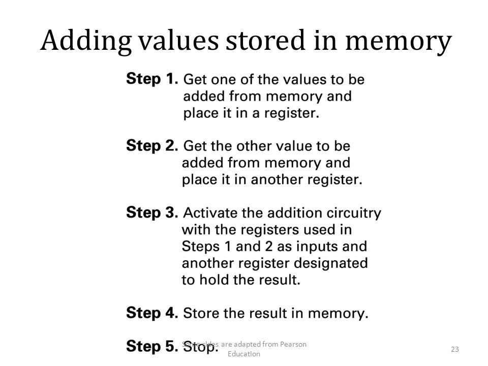 Adding values stored in memory 23 Some sldes are adapted from Pearson Education
